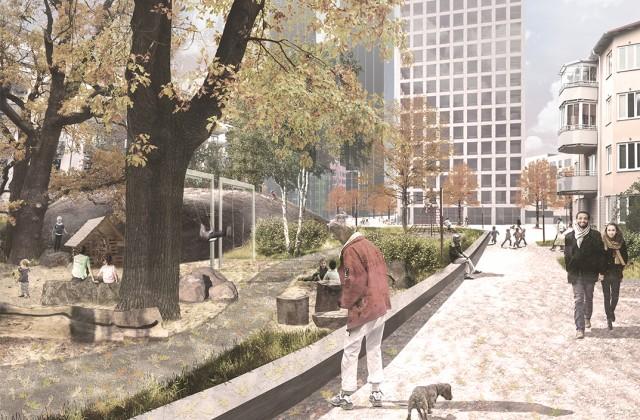 Telefonplan_Gångplan_Vy mot park_Land_Arkitektur